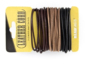 2mm India Leather Cord - 24 ft - Black, Brown, Natural Assorted
