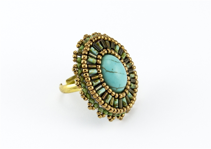 Limited edition bead embroidery ring kit greece turquoise