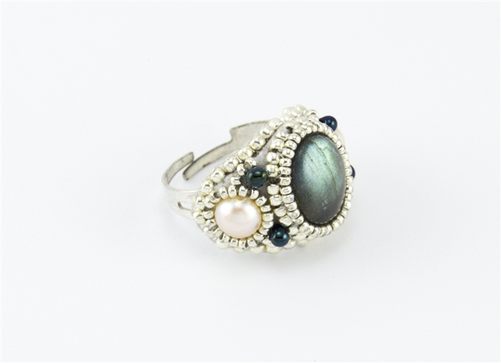 Limited Edition Bead Embroidery Ring Kit Moonlight Labradorite