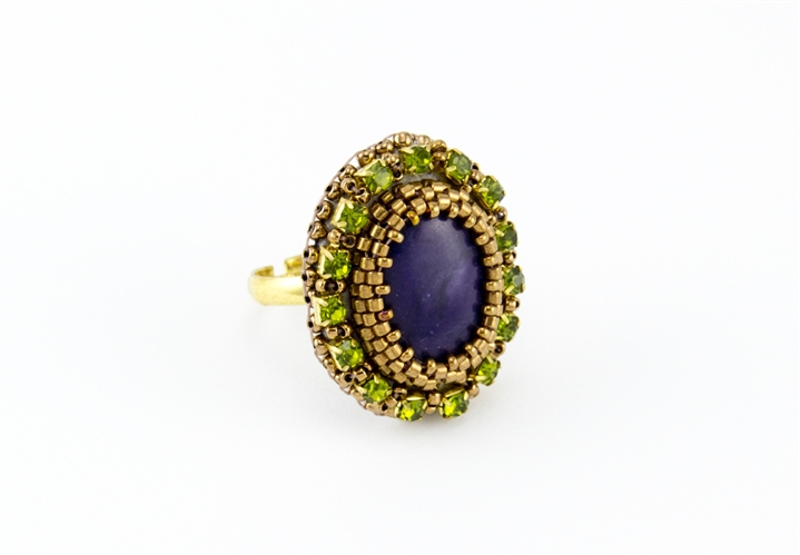Limited edition bead embroidery ring kit violet and moss