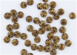 6mm Flat Lentils CzechMates Czech Glass Beads - Beige Copper Picasso L1