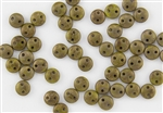 6mm Flat Lentils CzechMates Czech Glass Beads - Olive Chartreuse Copper Picasso L7