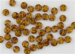 6mm Flat Lentils CzechMates Czech Glass Beads -  Milky Natural Picasso L9