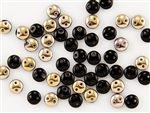 6mm Flat Lentils CzechMates Czech Glass Beads - Jet Black Apollo #L13