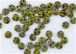 6mm Flat Lentils CzechMates Czech Glass Beads - Olive / Chartreuse Picasso L15