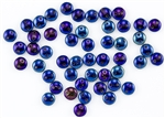 6mm Flat Lentils CzechMates Czech Glass Beads - Iris Blue Metallic L30