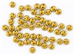 6mm Flat Lentils CzechMates Czech Glass Beads - Matte Metallic Goldenrod L34