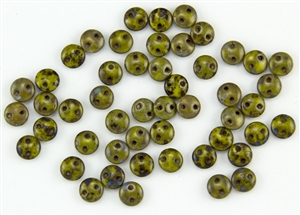 6mm Flat Lentils CzechMates Czech Glass Beads - Opaque Olive Picasso L57