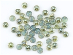 6mm Flat Lentils CzechMates Czech Glass Beads - Milky Aqua Celsian L61