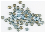 6mm Flat Lentils CzechMates Czech Glass Beads - Shadows Blue Halo L93