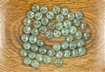 6mm Flat Lentils CzechMates Czech Glass Beads - Milky Turquoise Pink Topaz Luster L135