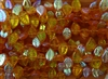 12x9mm Czech Beads Eucalyptus Leaves - Topaz AB