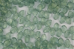 9x14mm Czech Beads Pressed Glass Leaves - Transparent Mint Gold Luster