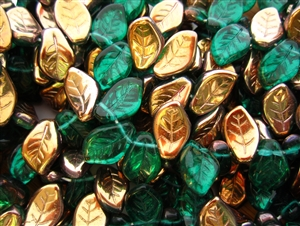 9x14mm Czech Beads Pressed Glass Leaves - Bronze Emerald