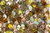 9x14mm Czech Beads Pressed Glass Leaves - Wheatberry Topaz Mix