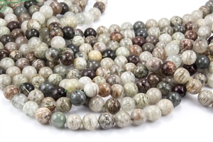 12mm Natural Lodolite Quartz / Garden Quartz Gemstone Round Beads