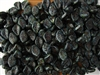 9x14mm Czech Beads Pressed Glass Leaves - Jet Black Picasso Opaque