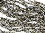 3mm Corrugated Melon Round Czech Glass Beads - Iris Brown Metallic