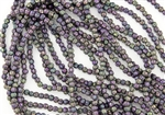 3mm Corrugated Melon Round Czech Glass Beads - Iris Purple Metallic