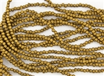 3mm Corrugated Melon Round Czech Glass Beads - Matte Metallic Antique Gold
