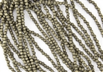 3mm Corrugated Melon Round Czech Glass Beads - Antique Gold Metallic Suede