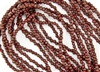 3mm Corrugated Melon Round Czech Glass Beads - Opaque Red Bronze Picasso