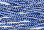 5mm Corrugated Melon Round Czech Glass Beads - Blue Metallic Suede