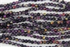 5mm Corrugated Melon Round Czech Glass Beads - Coated Marea Purple Jet
