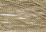 5mm Corrugated Melon Round Czech Glass Beads - Gold Linen Halo