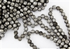 6mm Corrugated Melon Round Czech Glass Beads - Etched Antique Chrome