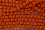 8mm Corrugated Melon Round Czech Glass Beads - Opaque Bright Pumpkin Orange