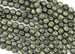 8mm Corrugated Melon Round Czech Glass Beads - Olive Mauve Polychrome