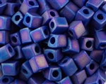 4mm Miyuki Square / Cube Japanese Seed Beads - Opaque Cobalt Blue Matte AB #414FR
