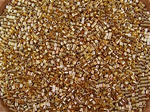 Crimp Tubes 2mm Shiny Gold Plated Metallic