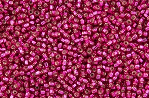 6/0 Miyuki Japanese Seed Beads - Hot Pink Silver Lined Square Hole #40
