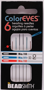 6 x Beadsmith ColorEYES Beading Needles Size No. 10, 11, 12 - ASSORTED
