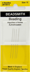 4 x Beadsmith English Beading Needles Size 15