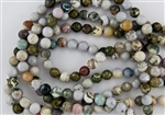 10mm Natural Ocean Jasper Gemstone Faceted Round Beads