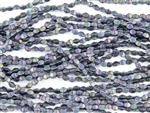 5x3mm Czech Glass Pinch Spacer Beads - Iris Purple Metallic Matte