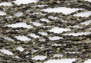 5x3mm Czech Glass Pinch Spacer Beads - Dark Green Metallic Suede