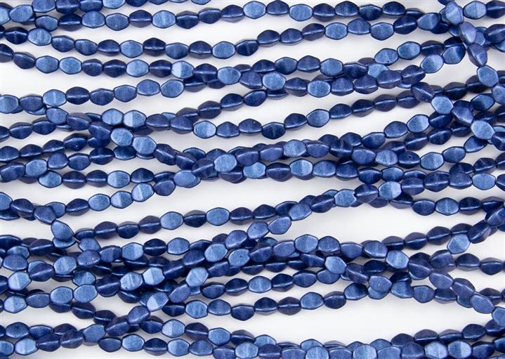 50 6mm Czech Glass Rondelle Beads Metallic Suede Blue
