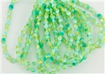 5x3mm Czech Glass Pinch Spacer Beads - Honeydew Silky Turquoise
