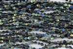 5x3mm Czech Glass Pinch Spacer Beads - Iris Green Metallic
