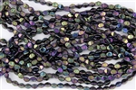 5x3mm Czech Glass Pinch Spacer Beads - Iris Purple Metallic