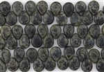 12x16mm Pear Shaped Drops Pressed Czech Glass Beads - Jet Black Matte Picasso