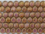 12x16mm Pear Shaped Drops Pressed Czech Glass Beads - Luster Rose Gold Topaz