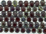 12x16mm Pear Shaped Drops Pressed Czech Glass Beads - Smoky Topaz Picasso
