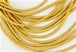 3mm Czech Glass Spacer Beads Rondelles - 24K Gold Plated