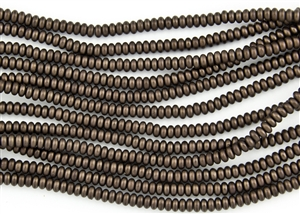 4mm Czech Glass Spacer Beads Rondelles - Dark Bronze Metallic Matte