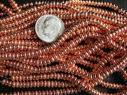 4mm Czech Glass Spacer Beads Rondelles - Shiny Copper Penny Metallic